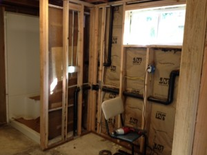this is our new basement bathroom its 90 percent done now it would not have been possible without the tool library